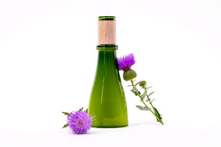 Green glass bottle covered with wooden cap filled with natural vegan-friendly cosmetic product on white background, fresh flower of burdock on stem nearby, copy space for advertising.
