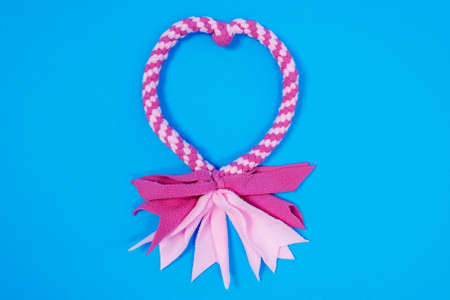 Toy for a dog, gnaw and drag. Close up bow-knot knitted from fiber jersey of two pink tones, lying in heart shape on bright blue background Stock Photo