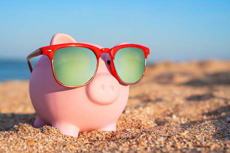 Piggy bank in sunglasses with polarized lenses stands on sandy beach on seashore lit by golden rays of the sun, close up, blurred background. Sings of eastern Chinese horoscope.