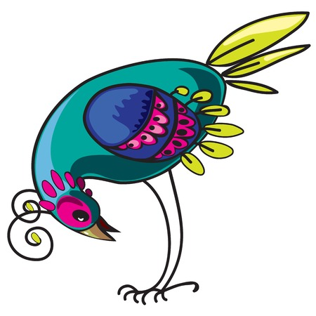 meraklı: Meraklı dekoratif tropikal çok renkli kuş, tasarım öğesi