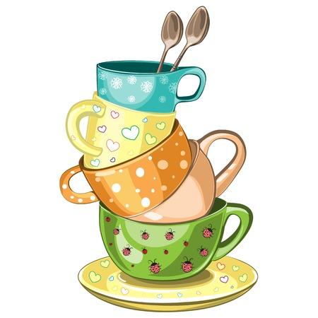 Gestapelde mooie multi-gekleurde kopjes thee vector illustratie Stock Illustratie
