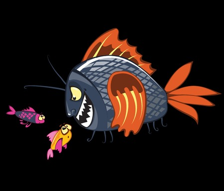 witness: cartoon fishes characters, bullying fish, weak one and witness Illustration