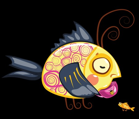 envy: cartoon characters, fish drinking cup of tea and small one Illustration
