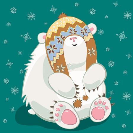 Small polar bear cub cartoon character wearing norvegian hat Vector
