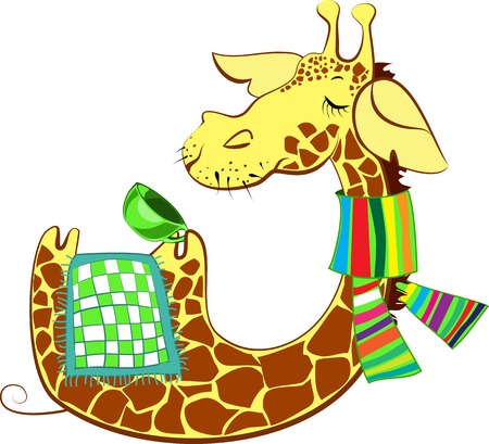 flue: Cute giraffe cartoon character got flue and trying to heal Illustration