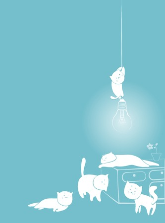 cats playing: Card, white and blue cats playing indoors. Copyspace in left upper part. Illustration
