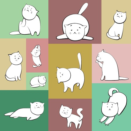 Set of simple  cats characters in color boxes photo