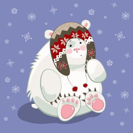 Small polar bear cub cartoon character wearing norvegian hat photo