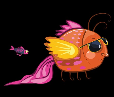cartoon characters, cool fish wearing sunglasses and small one photo