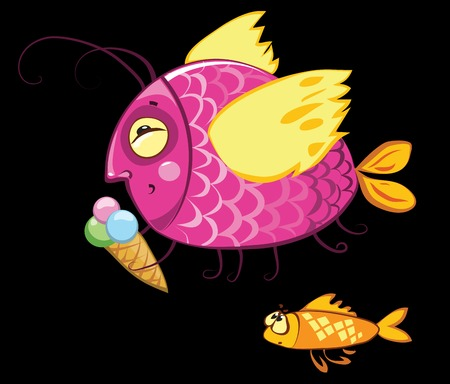 envy: cartoon characters, icecream eating gourmand fish and hungry envy one