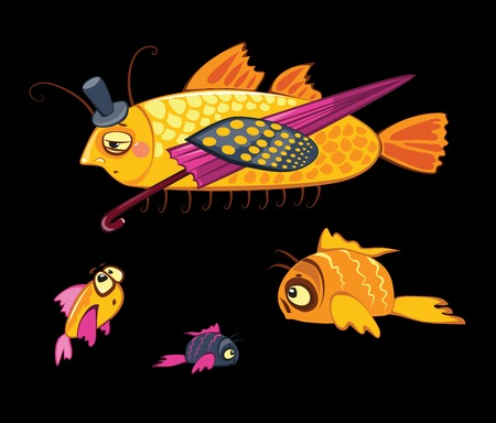 cartoon characters, dandy fish with umbrella and three small ones