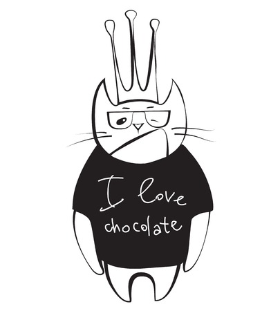 anthropomorphous: Cat cartoon character wearing black t-shirt scribed I love chocolate
