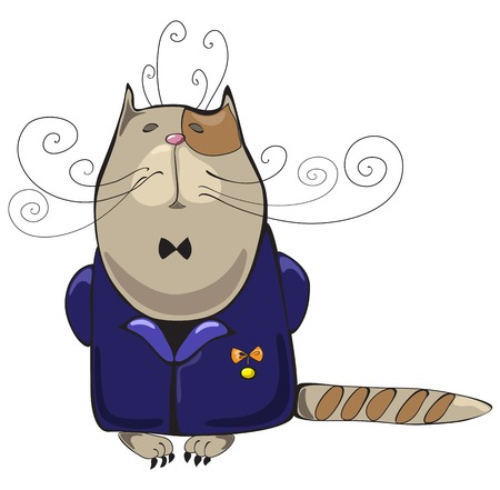 the proud: Proud haughty cat in blue jacket with medal of honour