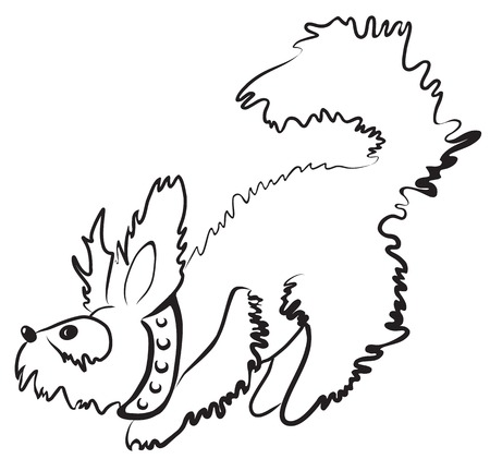 mutt: Simple monochrome fluffy dog character drawn with minimum strokes Stock Photo