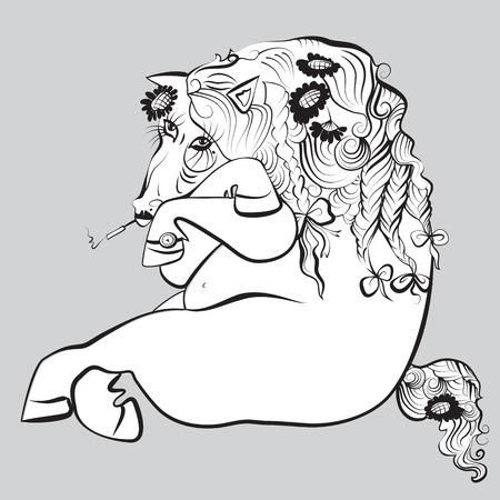 hoer: monochrome rug en witte roken paard met bloemendecoratie