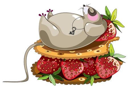 lazy sleeping mouse cartoon character lying at cracker sandich with strawberry photo