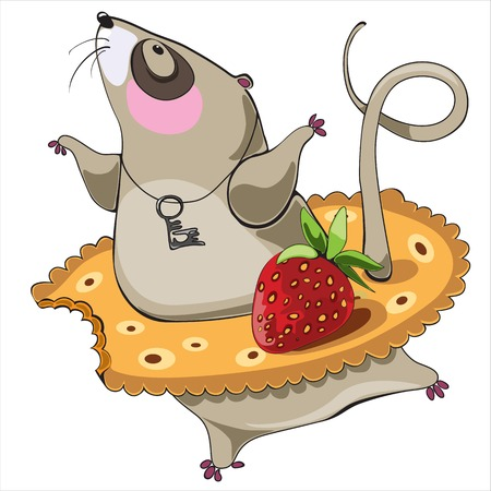 dancing mouse cartoon character wearing cracker tutu with strawberry photo