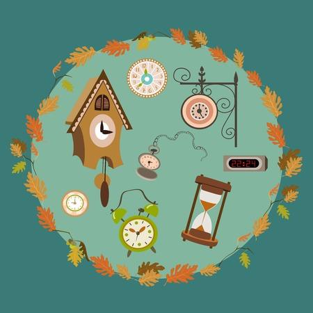 cuckoo clock: set of clocks in leaves wreath Illustration