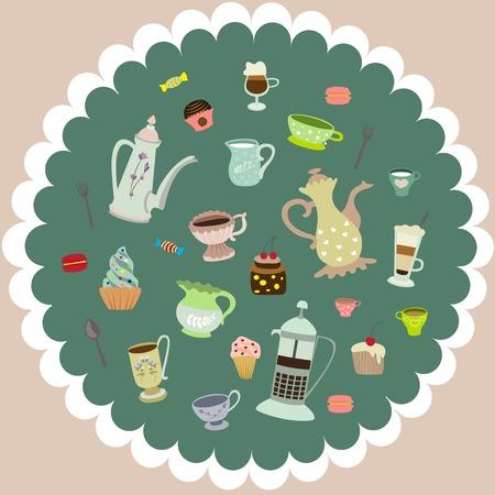 tea cups, mugs, cakes, coffee pots, candies Vector