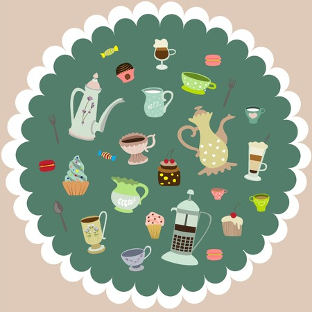 latte art: tea cups, mugs, cakes, coffee pots, candies Illustration