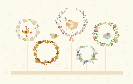 oak wreath: set of cute floral wreaths and birds in them