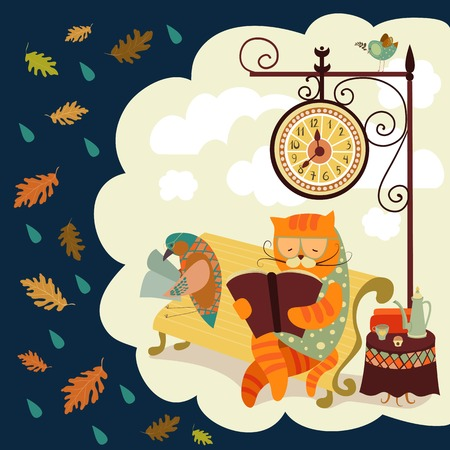 cat and bird sitting on bench, reading books, under the clock