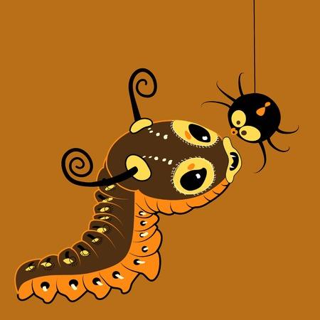 caterpillar cartoon: cartoon cute monster caterpillar with spider