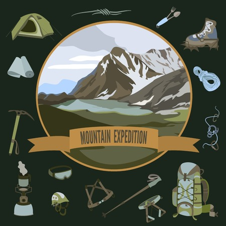 set of mountaineering icons and mountain landscape