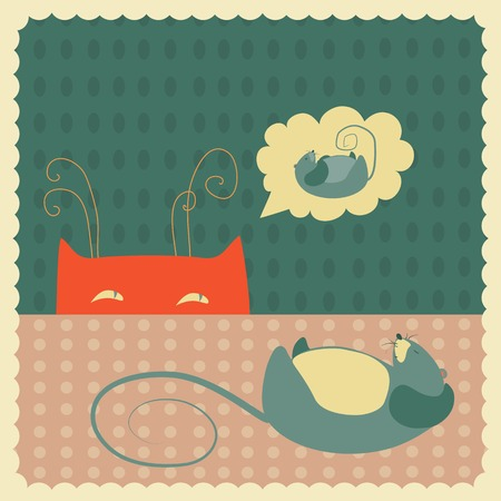 scheming: Vector cat sneaks up on a sleeping mouse Illustration