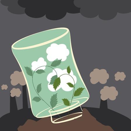 contaminacion ambiental: El vector planta limpian el aire. Detener la contaminaci�n ambiental Vectores