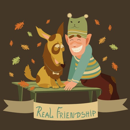 Vector real friendship of man and dog Vector