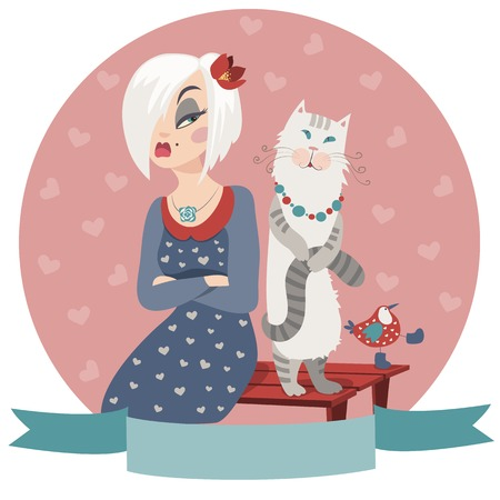 offended: woman offended by cat and bird