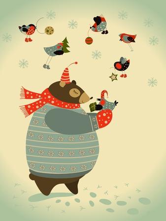 Vector schattige beer en vogels vieren Kerstmis Stock Illustratie