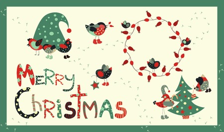 decoration elements: Vector set of decoration elements for Christmas Illustration