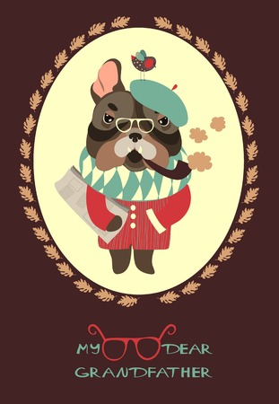 smoking pipe: Vector serious grandpa dog with a newspaper and smoking pipe