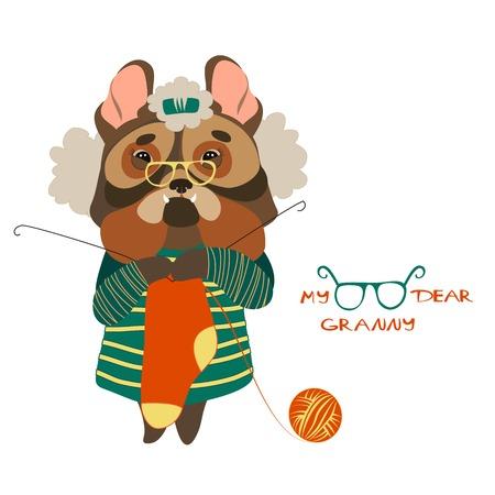 hank: Vector cute dog grandmother kniting woolen socks
