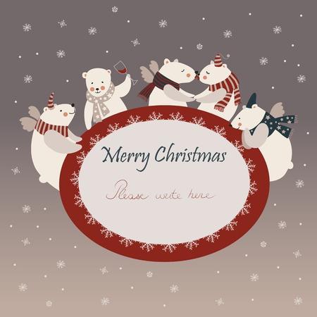 Vector group of cute polar bears friends celebrating Christmas Vector
