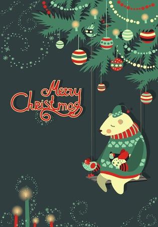 グリーティング カード、クマとクリスマス ツリーの下に鳥  イラスト・ベクター素材