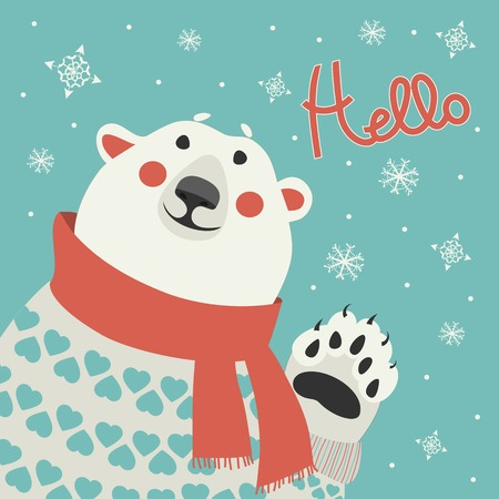 Polar bear says hello at vector greeting card