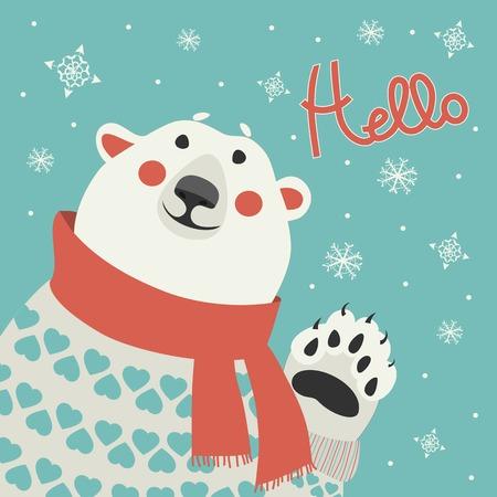 hello heart: Polar bear says hello at vector greeting card