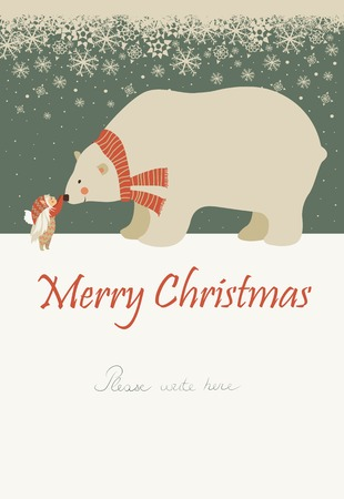 Vector greeting card, little angel and polar bear are celebrating Christmas