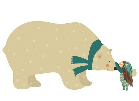 Vector characters, little angel and cute polar bear Stock Illustratie