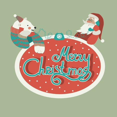 x mas: Christmas greeting card, polar bear and Santa Claus talking by phone