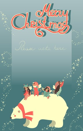 Vector greeting card, angels and polar bear are celebrating Christmas