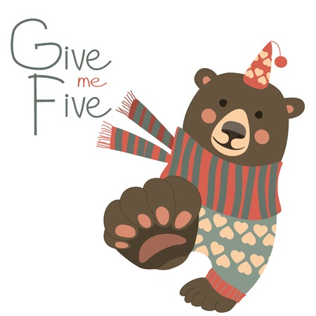 give me five: Bear says and gesturing Give me five