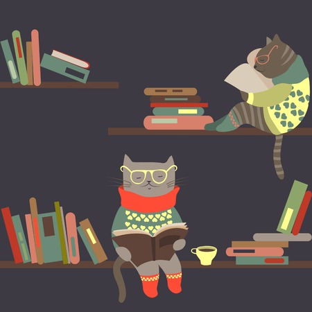 cartoon reading: Vector cute cats reading books on bookshelves Illustration
