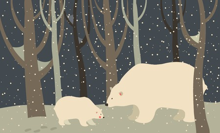 Vector polar bear and cub in the forest