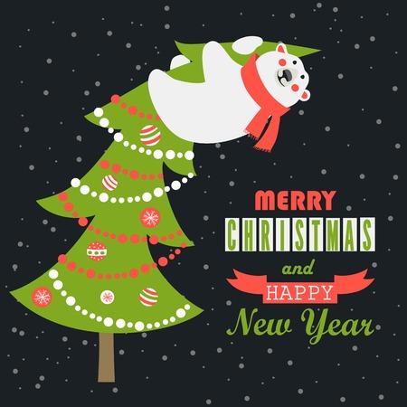ベクトル グリーティング カード、ホッキョクグマに登ったクリスマス ツリー
