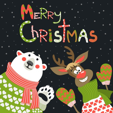 Reindeer and polar bear celebrating Christmas at vector greeting card