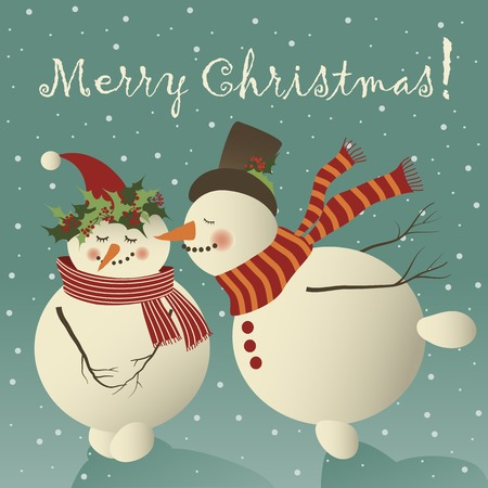 Two cute snowman in love celebrating Christmas.Vector greeting card
